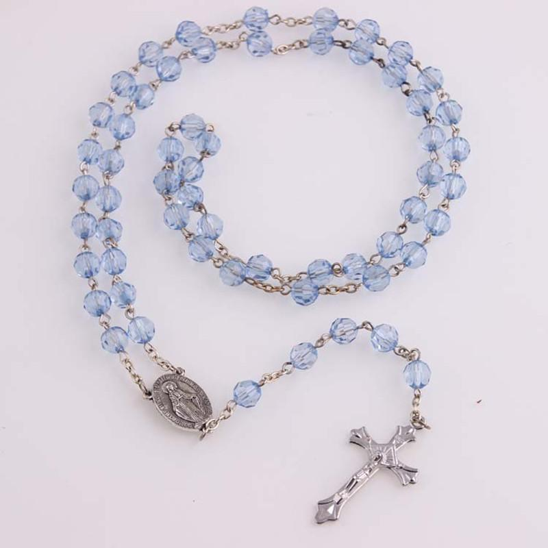 Vintage Blue Glass Bead Catholic Rosary Necklace Religious Father Beads Holy Soil Inside Centerpiece Maxi Strand Necklace
