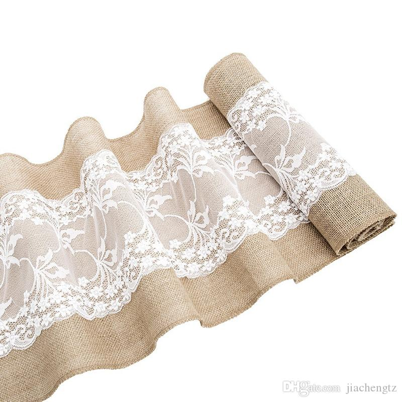 Vintage Table Runner Natural Hessian Burlap with White Lace for Rustic Festival Wedding Party Baptism Decoration 30cm x 275cm