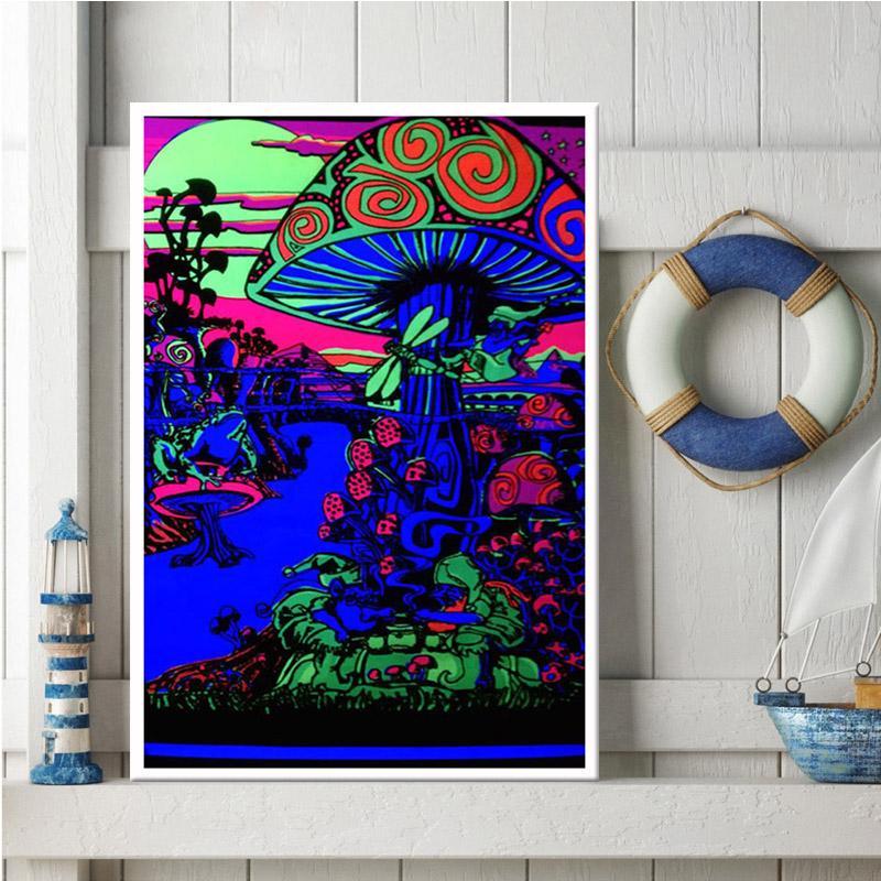 Trippy 마음 시각 버섯 교육 매직 검은 빛 포스터 벽 아트 포스터 및 인쇄 캔버스 그림 홈 장식