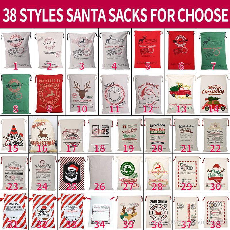 Холст Рождество Sants сумка Большой кулиски конфета сумка Сант-Клаус мешок Xmas Санта Сакс подарочного пакеты для Новогоднего украшения 08