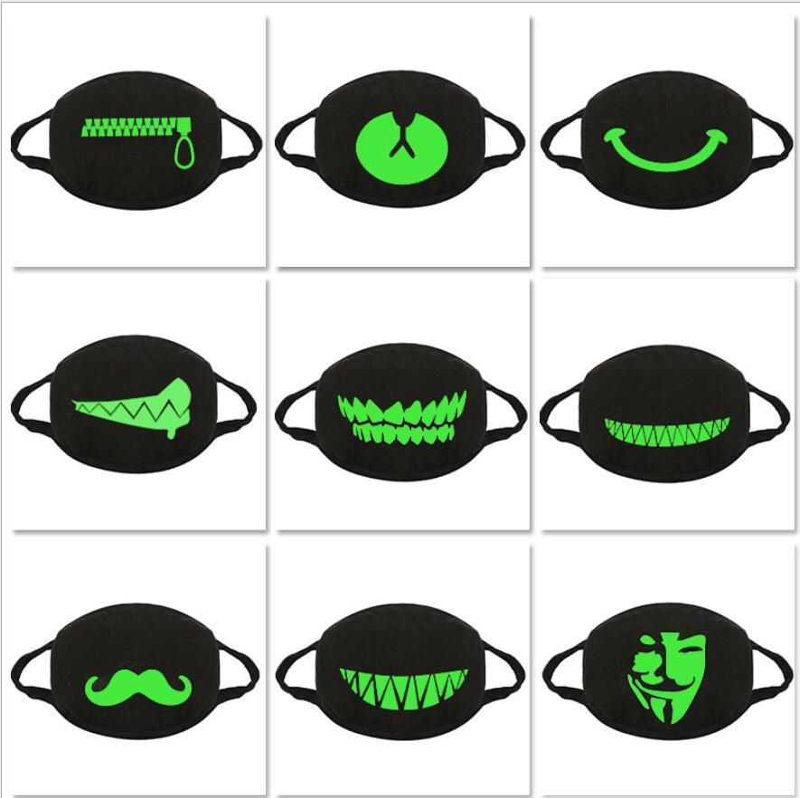 Luminescents noir Masques anti-poussière Coton Masque bouche Masque unisexe homme vélo femme Porter Masques Cartoon Mode