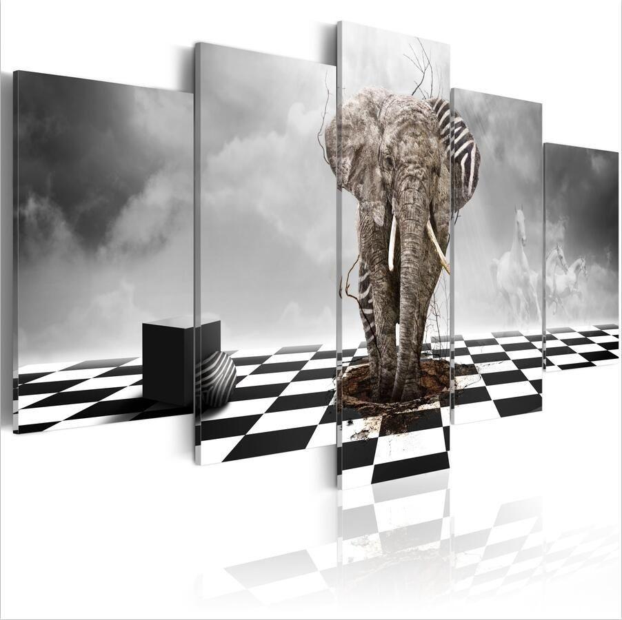 (No Frame) 5 PCS / Ensemble Moderne Paysage Animal Éléphant Lourd Art Imprimer Sans Cadre Toile Peinture Mur Photo Décoration de La Maison