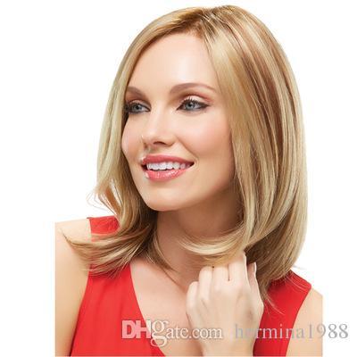 شعر مستعار قصير الموجة الطبيعية الاصطناعية مع الانفجارات الحرة 1B أو باروكة ألياف مقاومة للحرارة غلويليس للنساء البيض