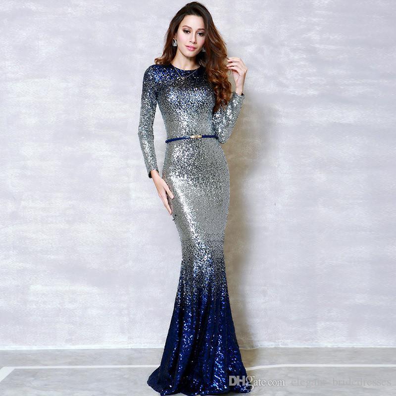 2019 c'est la mode YiiYa manches longues empiècements Bling Dîner Robes de soirée Robes Robes de Soirée Sirène O-cou Simples Robes de Graduation
