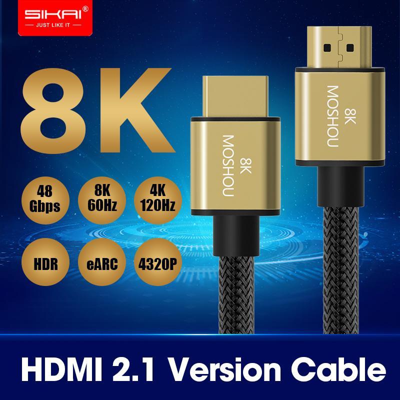 HDMI Kablolar MOSHOU HDMI Kablolar Amplifikatör TV Yüksek Çözünürlüklü Multimedya Arayüzü 2.1 8K 60Hz 4K 120Hz 48Gbps bant genişliği ARC video 1m Kordon