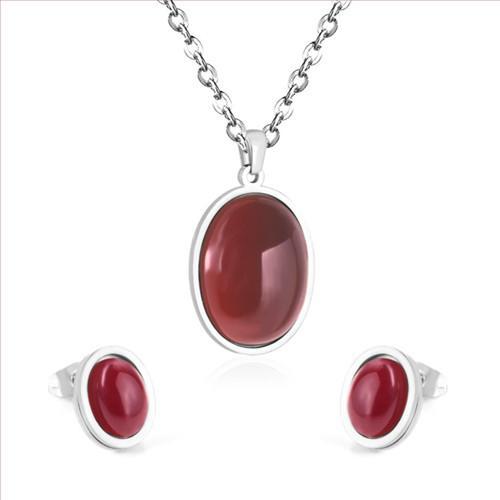Toptan 5 Takım Gümüş Kaplama Oval Şekil Kırmızı Akik Kolye Kolye Saplama Küpe Moda Takı Setleri
