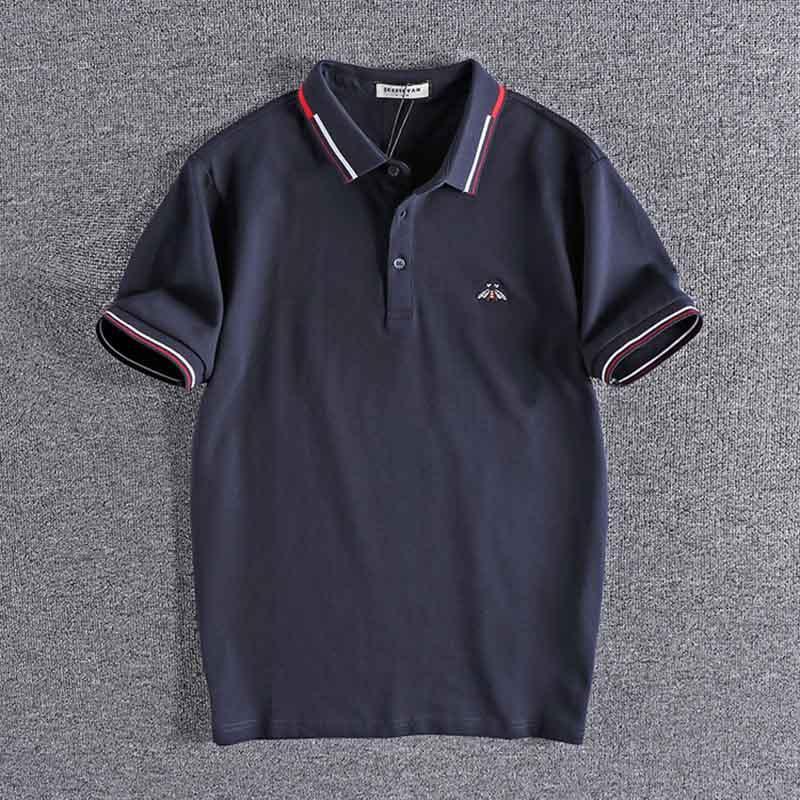 2020 Business-Mode für Männer Jugend-Revers-Hemd einfache Stickerei Baumwollperlgarn Sommermänner Shirt Kurzarm Tops 0270