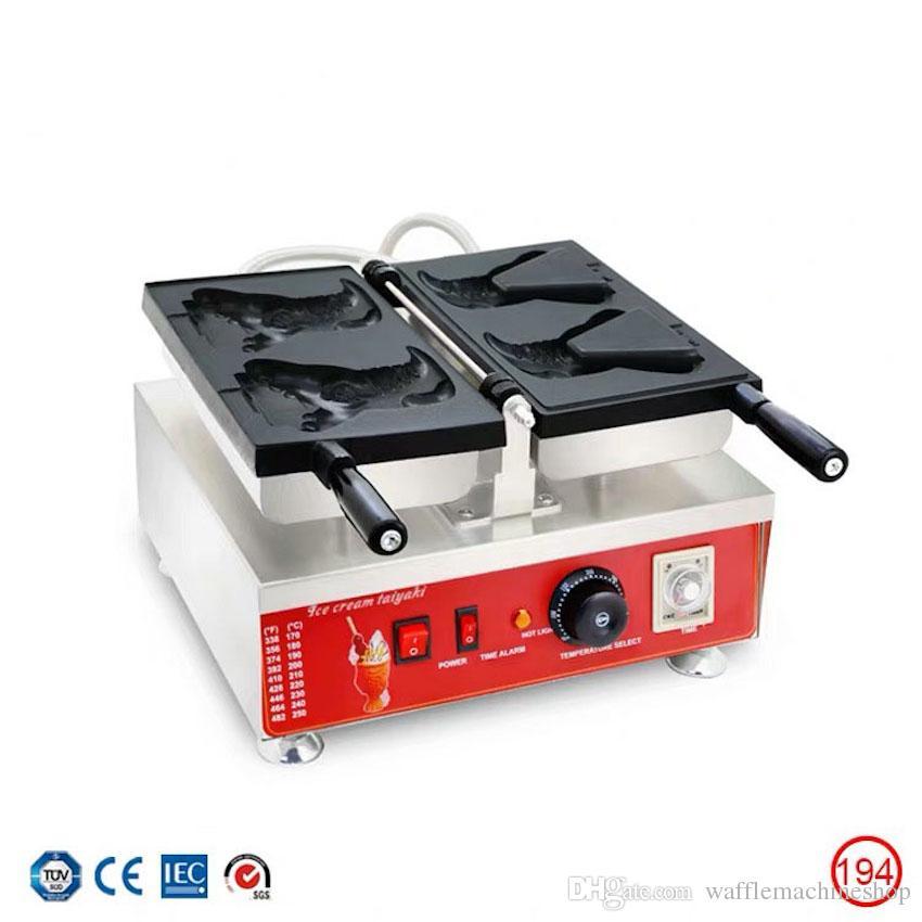 Ticari Timsah Şeklinde Taiyaki Makinesi Açık Ağız Dondurma Taiyaki Makinesi Karikatür Waffle Koni Makinesi Kahve Çay Dükkanı Ekipmanları