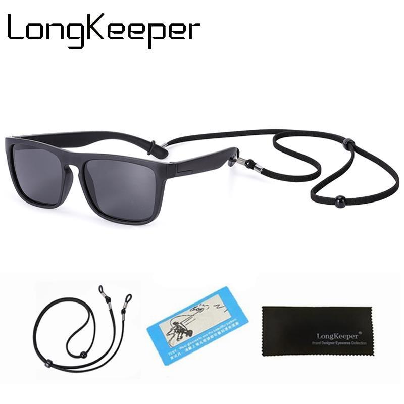 Lunettes de soleil pour enfants LongKeeper polarisants avec Longe enfants TR90 sécurité flexible Lunettes de soleil Garçons Filles Miroir Lunettes UV400
