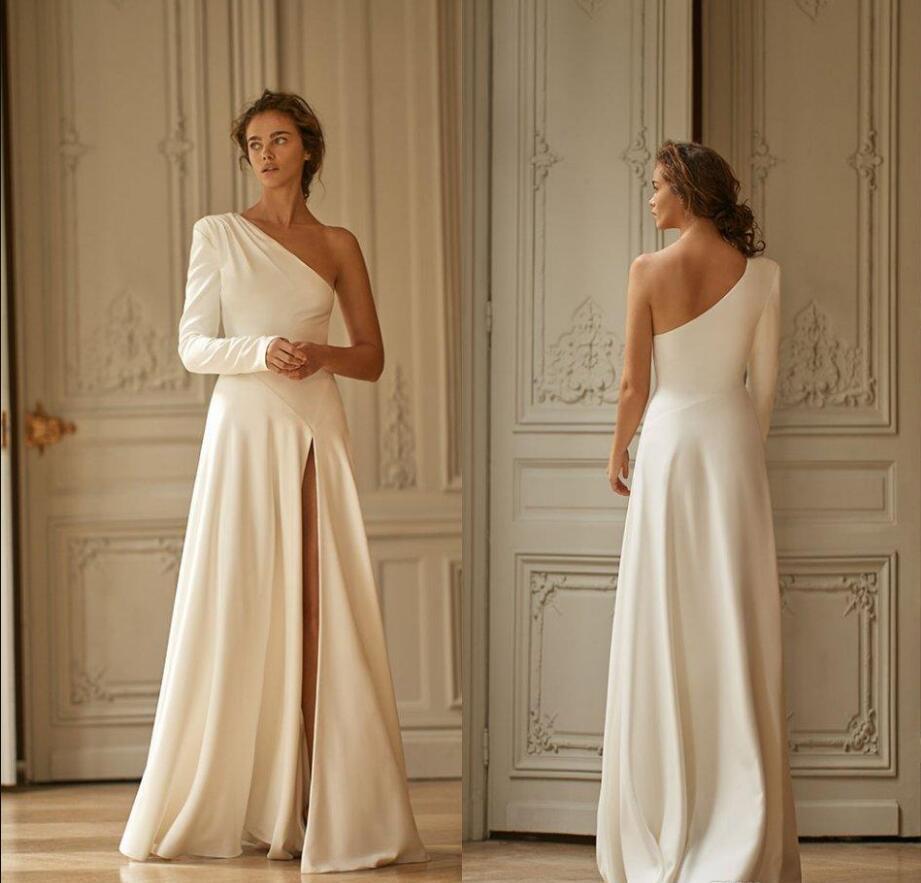 2020 Nouvelle face haute de Split Simple robes de soirée une épaule à manches longues Une ligne de soirée en satin Robes Robe de bal Novia arabe Robe