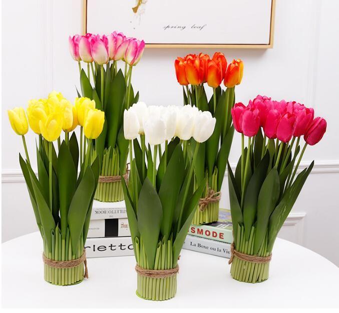 Tulip Artificial Flowers Silk Tulip display flowers 12 Head tulip plants Wedding or Home office Decorations