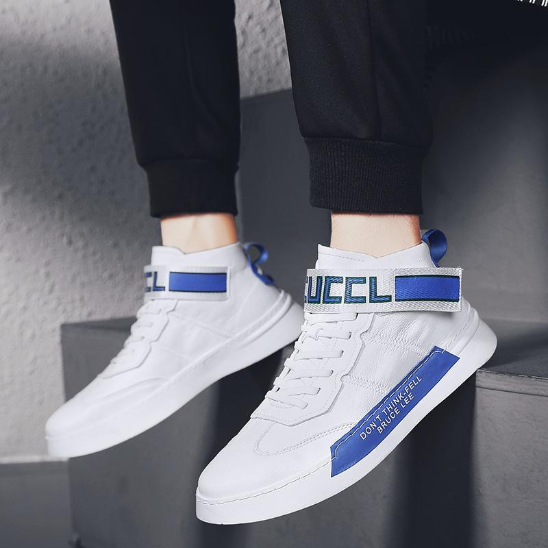 Male All-Gleiches Schuhe High Hilfe Skate Schuhe 2019 Herbst New Muster reflektieren das Licht Schuhe Innerhalb erhöhen Bewegung Korean Trend Man
