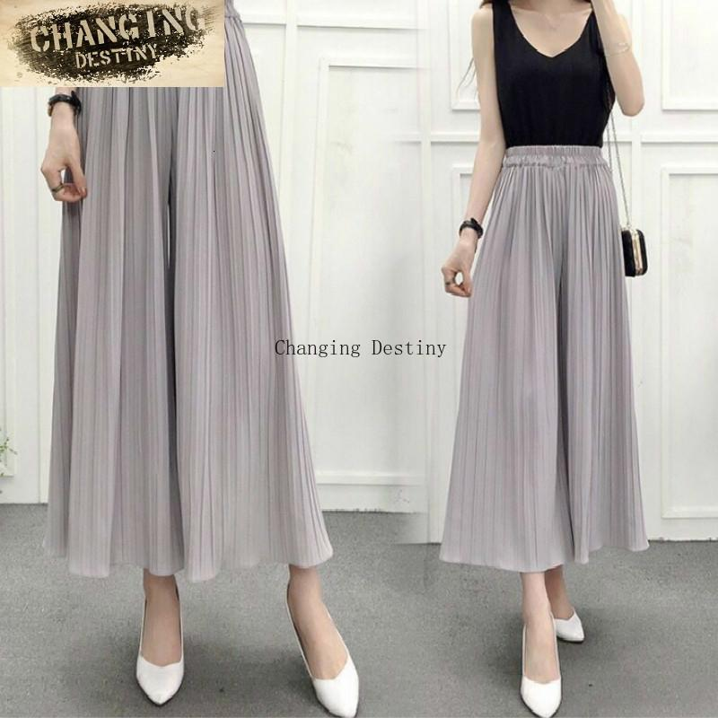 Spring And Summer High Waist Was Thin Casual Loose Korean Yards Chiffon Pressure Pleated Wide Leg Pants C19041701
