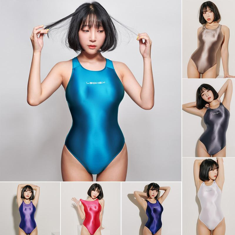Sexy Leotards cetim brilhante Bodysuit High Cut One Piece Swimwear Mulheres Glitter Brilhante fatos de banho Female Swimsuit Bodysuit