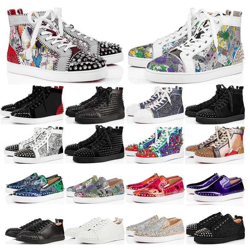 새로운 디자이너 신발 럭셔리 박힌 스파이크 패션 레드 스웨이드 가죽 남성 여자 평면 바닥 신발 파티 연인 운동화 크기 36-46 상자