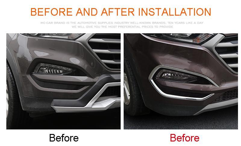 Hyundai Tucson 2016 2017 için Araç Şekillendirme 2PCS ABS Krom Ön Sis Lambası Işık Kapak Trim