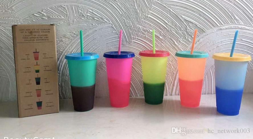 24oz تغير لون البهلوانات البلاستيك شرب عصير كأس مع الشفاه وسترو سحر القهوة القدح costom من شعار A03