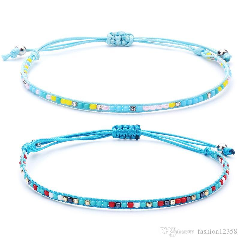 Main Bohème corde Bracelets tressés pour femme Hommes cristal Rocailles Charms Chain Bracelet Bijoux Bracelets d'été