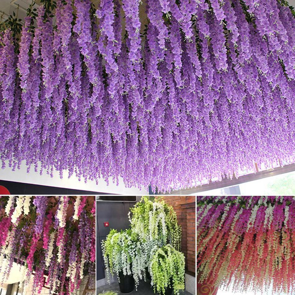 115 centimetri denso glicine fiore di seta fiore artificiale vite elegante glicine vite rattan per il giardino matrimonio feste a casa decorazione LJJA3318-21
