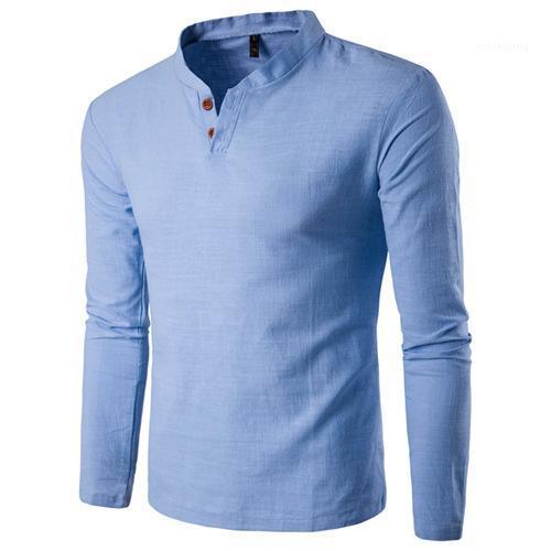 Цвет Tshirts Весна Дизайнер Длинные рукава Botten Пуловер Тис Мужчины Мода Повседневная одежда мужская V шеи Твердые