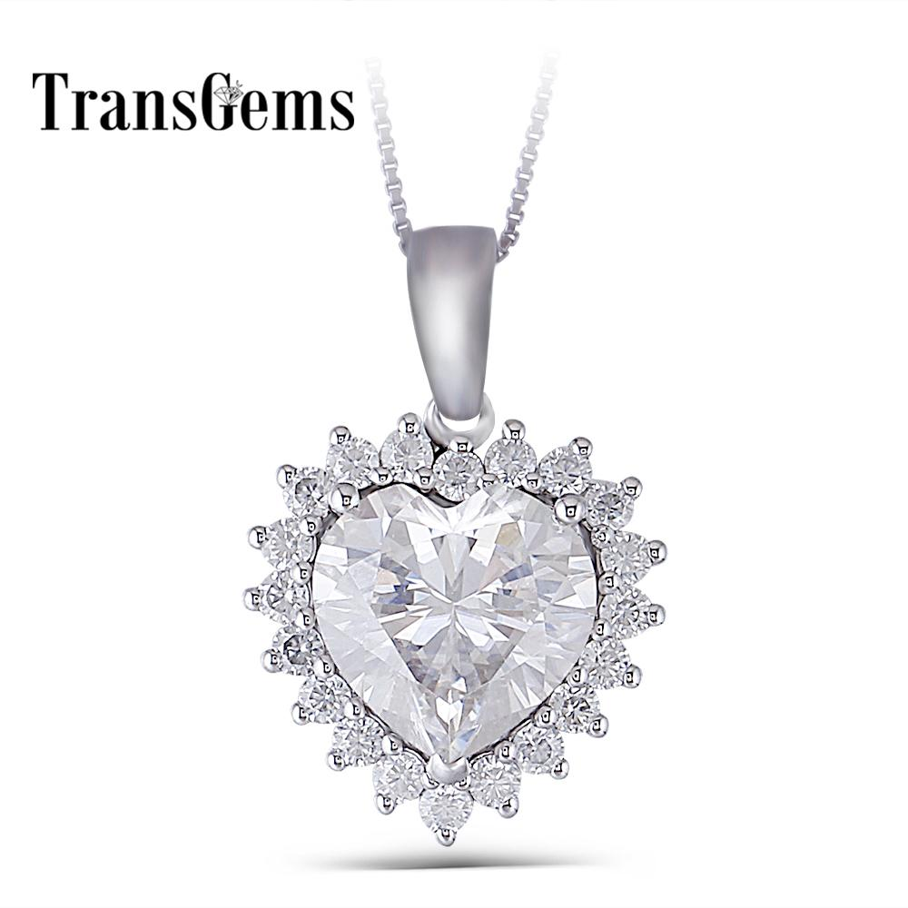 Transgems 14k White Gold Center 5ct 11mm F-g Color Clear Heart Cut Moissanite Halo Pendant Necklace With Accents For Women Y19032201