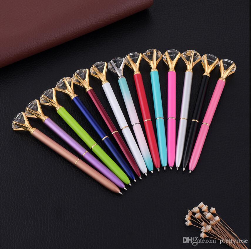 Gran joya bolígrafo de lujo de cristal de oro rosa y diamante bolígrafos para la escuela herramientas de escritura papelería suministros de oficina regalo pluma DHL