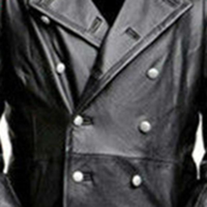 Wholesale-Men's New Style Medieval Vintage Leather Clothes Pure Long Leather Jacket Trench Coat Male Clothing Streetwear Windbreaker 12.25