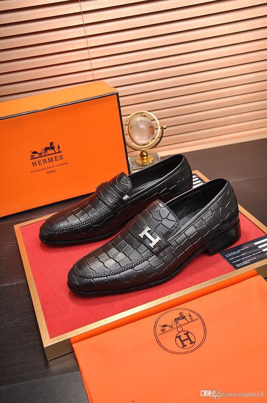 20ss New Business Dress Men Leather Shoes Classic Men Dress Shoe Luxury Brands Men Wedding Formal Shoes Derby Flat Shoes 38-45 MADAOD