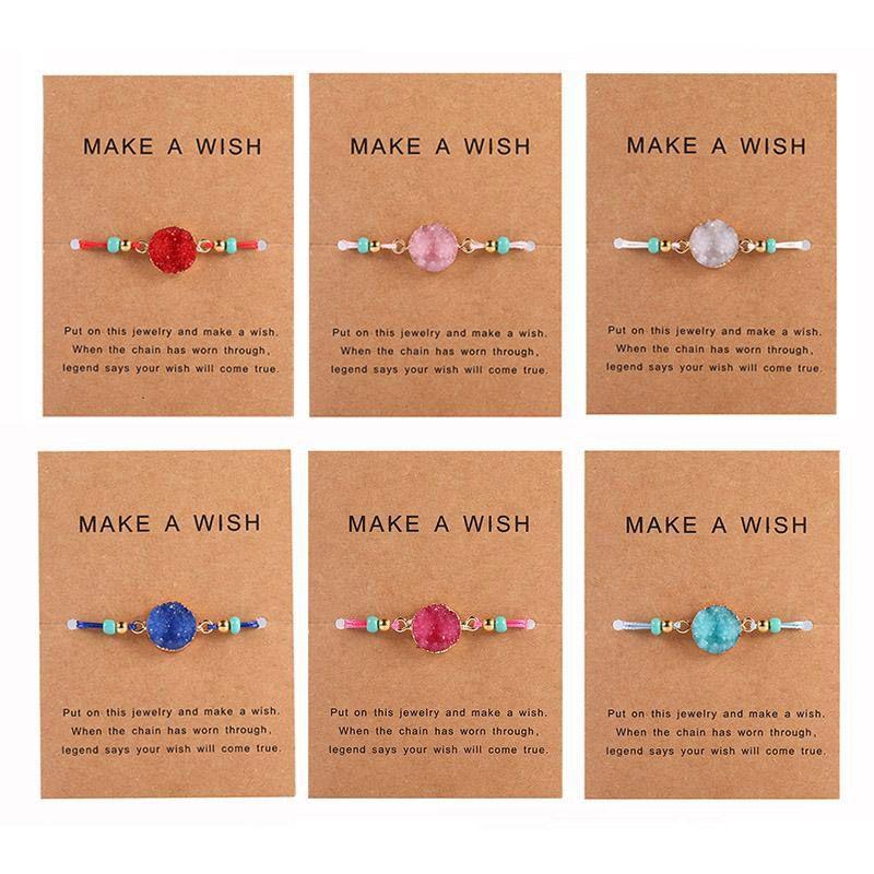 Braccialetto Handmade pietra della resina Druzy esprimere un desiderio di carte corda della cera braccialetti intrecciati dei braccialetti con riso Bead per le donne ragazze della spiaggia di estate Jewelry
