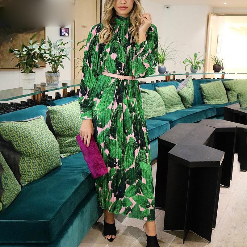 Long Sleeve Dress donne Stilisti pieghe floreali a maniche lunghe in chiffon donne verde Midi Bohu vestito femminile Beach Party Estate