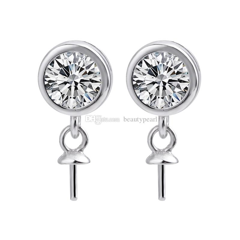 Elegant Classic Round Zircon Earring Pearl Mounts 925 Sterling Silver Findings Fine Jewelry Making 5 Pairs