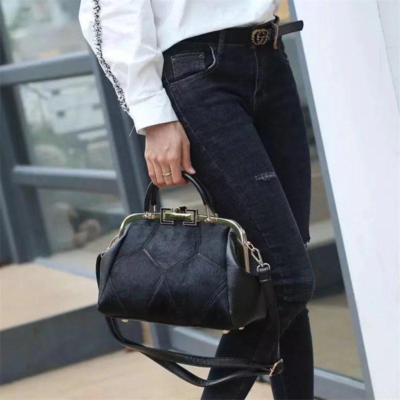 Fashion Brand Leather Fur Soft Real Leather Women Handbag Two Pieces Female Shoulder Bag Girls Messenger Bag Casual Women bag T200322