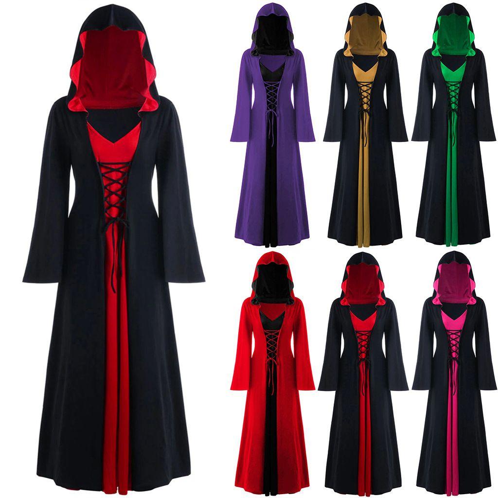 Plus Size partito maxi vestiti delle donne di Halloween con cappuccio Lace Up Long Sleeve Patchwork Costume Femme Halloween Déguisement