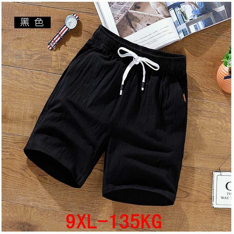 Grande taille Men Shorts XL 6XL 7XL 8XL 9XL Lin Coton Summer Grand Sport 50 extensible Casual lâche Noir