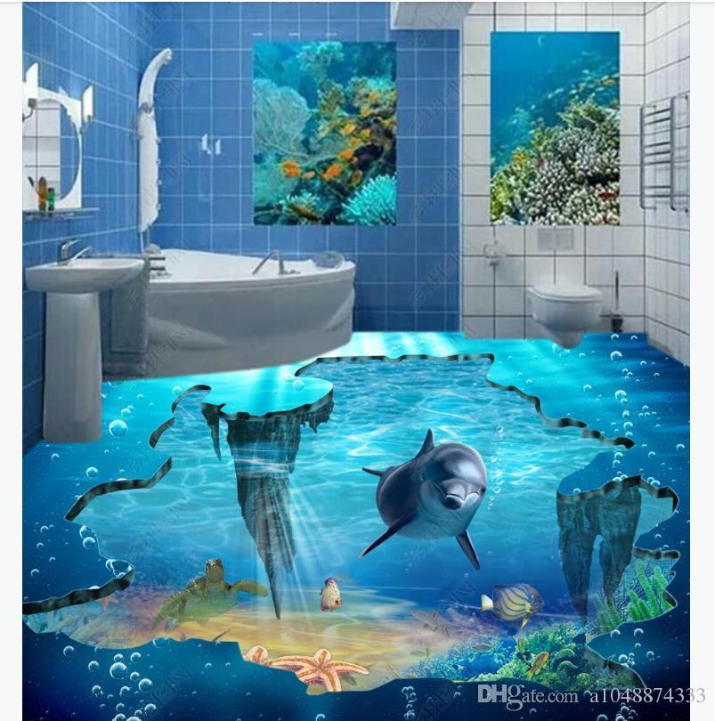 Personalizado 3D Auto-adesivo piso foto mural papel de parede Dolphin Oceano Banheiro Quarto 3D À Prova D 'Água Adesivo de Chão