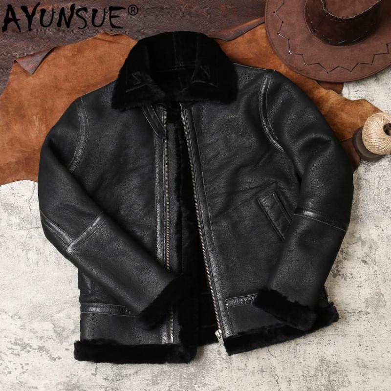 AYUNSUE Veste en cuir véritable pour hommes de mouton en peau de mouton réel manteau de fourrure Veste d'hiver 2020 hommes Vêtements Vintage Manteaux B-3-1 KJ4970