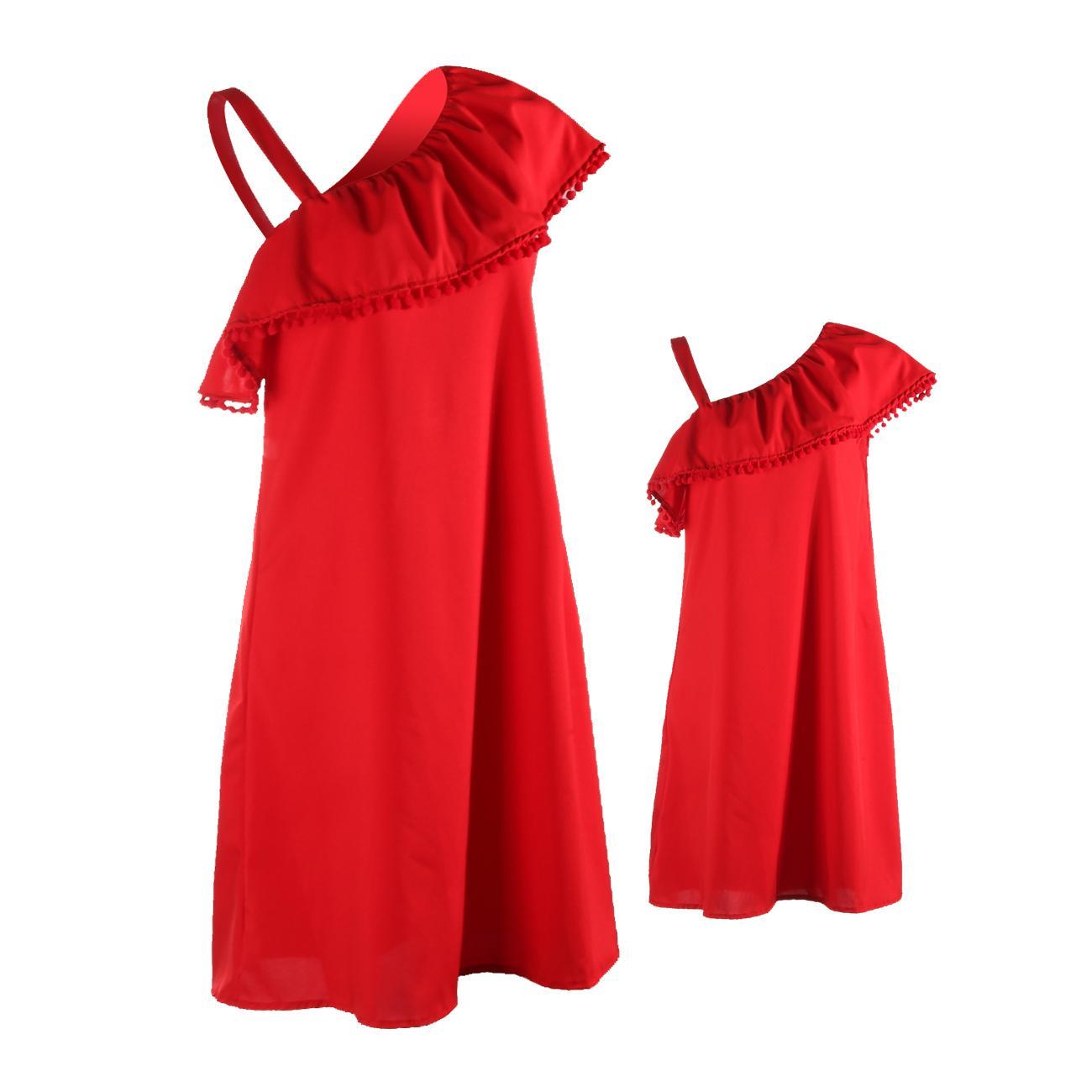 Matching Mother Daughter Clothes Mom And Girls Solid Ruffles Short Sleeve Off Shoulder Dress Sundress Summer