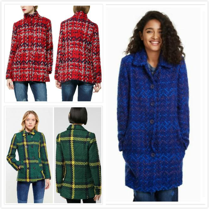 İspanyol kadın 5 yünlü Ekose palto