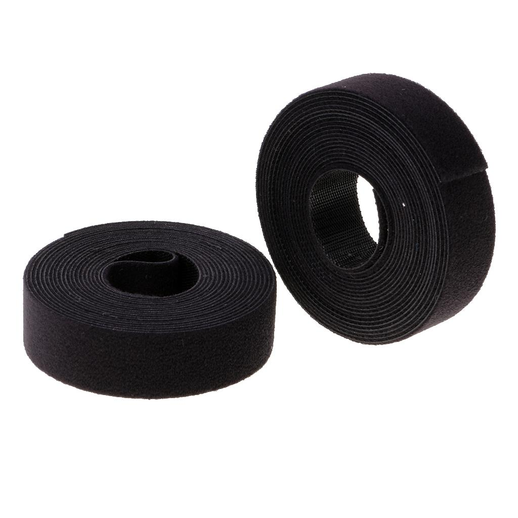 2 Roll Black Nylon Cable Straps Cable Ties Hook and Loop Wire Organizer 20mm