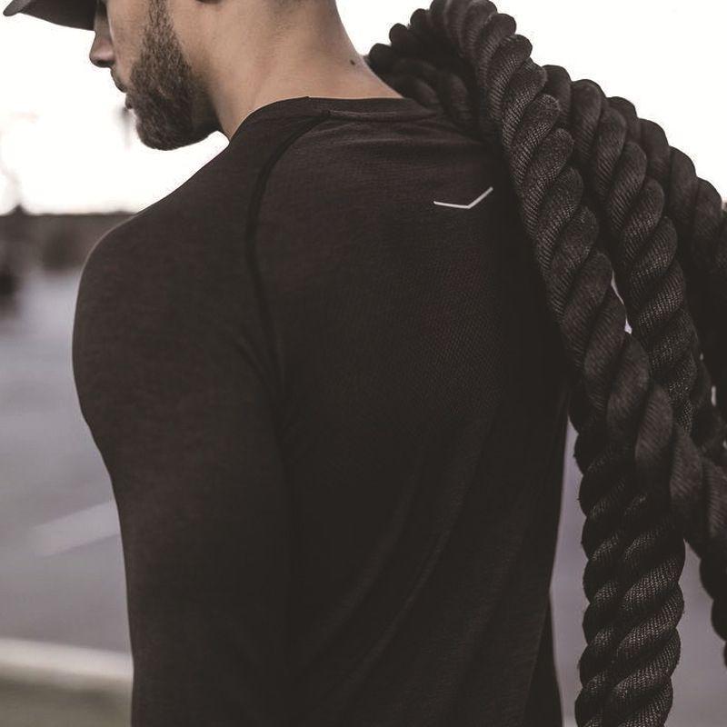 Biaolun marca uomo camicia a compressione fitness jogger esercizio vestiti moda casual t-shirt manica lunga alfa solido SH190824