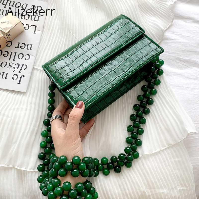 Beads Chain Crocodile Pattern Shoulder Bag Women New Korean Green Stone Pattern Messenger Bag Fashion Small Square Ladies