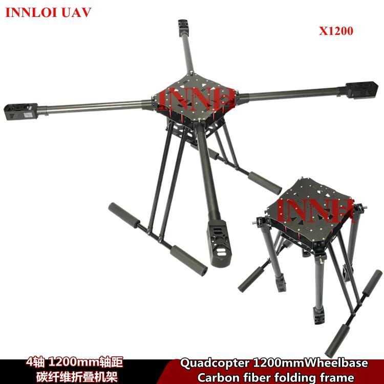 INNLOI UAV bricolage 900 1000 1100 1200mm 4 Quad cadre en fibre de carbone Cadre double pour 4 rotors quadcopter pour l'agriculture UAV Secteurs d'activité Applications