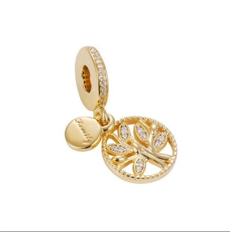 Dangle Charm kolye ile 14K Altın Kaplama Fit For Avrupa Pandora bilezik Boncuk Charms Asma S925 Gümüş Aile Miras Ağacı