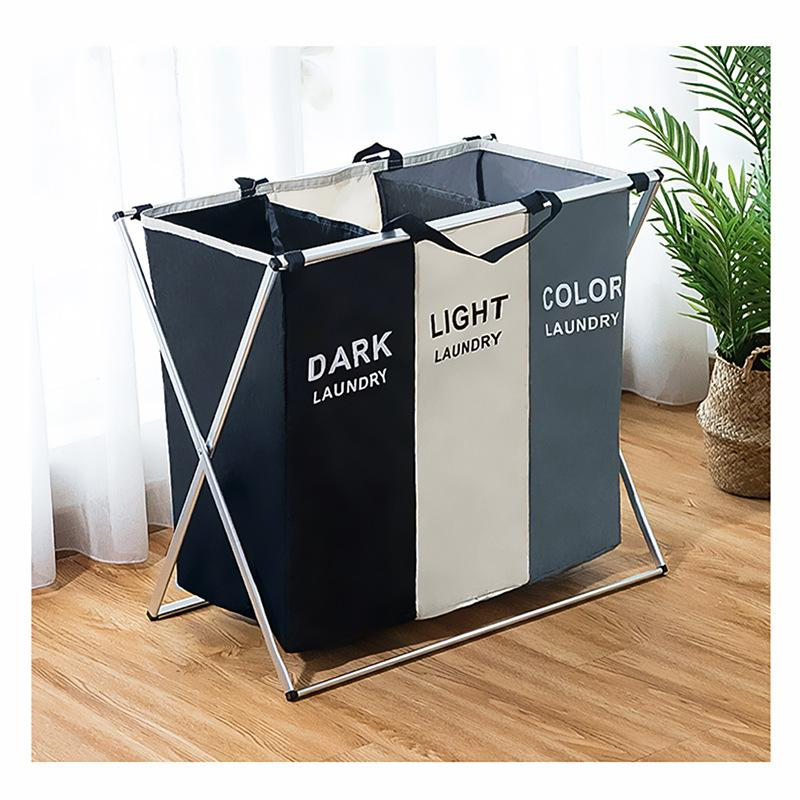 Foldable Laundry Basket Bag Organizer For Dirty Clothes Printed Collapsible Two Or Three Grid Home Laundry Hamper Sorter Storage Bag