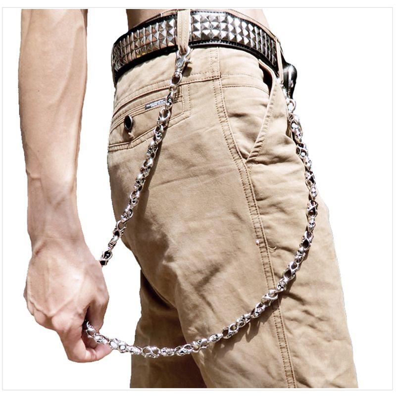 Men Pant Waist KeyChains Vintage Skull Metal Hip Hop Skeleton Punk Skeleton Pants Cool Chains Trousers Jeans Biker Wallet Key Ring