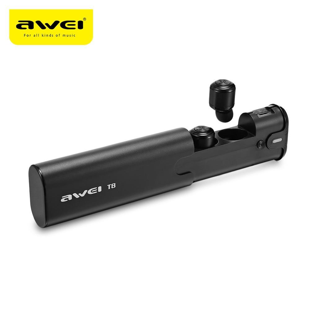 AWEI TWS Auricolare Bluetooth V4.2 True Wireless Auricolari Con Power Bank Dual Microfono Stereo 3D Auricolari In-Ear T8 per Smart Phone BA