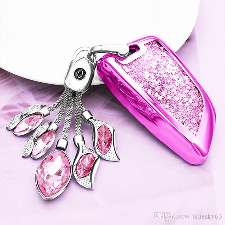 Cuero de lujo de la cadena de coches Rosa Rojo Llaveros Plata Champagne Cristal Clave azul con el botón cristalino brillante colgante de herradura