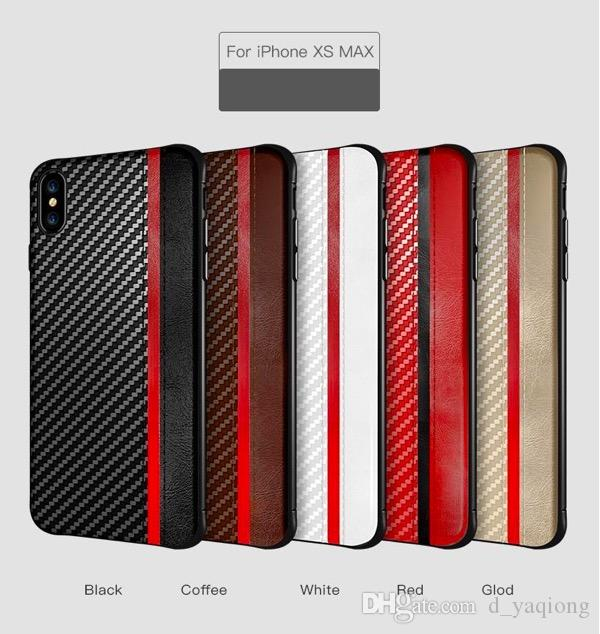 For Iphone XR XS MAX X 8 7 6S plus cell phone case carbon fiber leather texture case cover for Samsung Galaxy S8 S9 S10 PLUS luxury