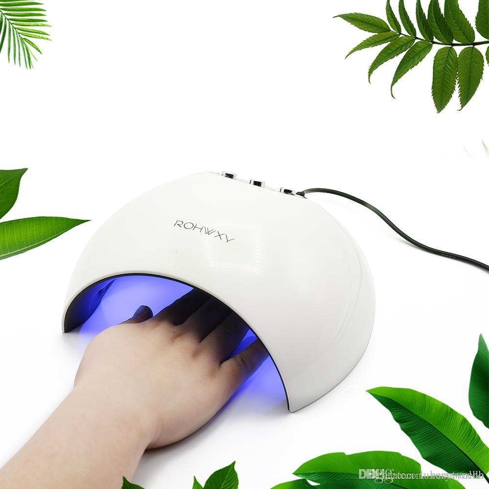 Rohwxy 24W Dual UV LED Lampe à ongles Sèche-ongles Détection automatique Manucure Outils Gel Polish Lumière de polymérisation avec réglage de minuterie 60s / 90s / 120S