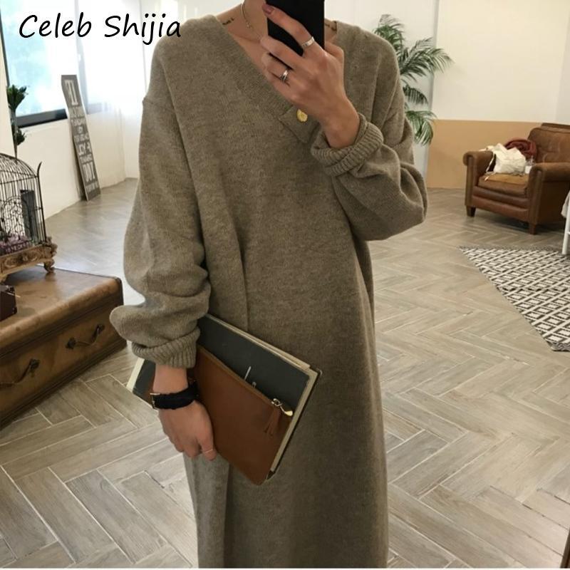 SHIJIA Korean chic loose thicken maxi sweater dress v neck Long-sleeve oversize keep warm knit dress female autumn winter 2019 MX200518